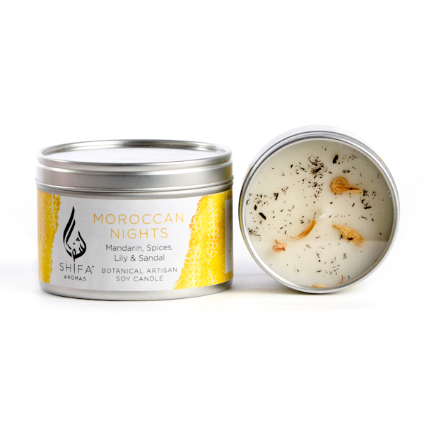 Moroccan Nights. Mandarin, Spices, Lily & Sandal - Small Candle Tin