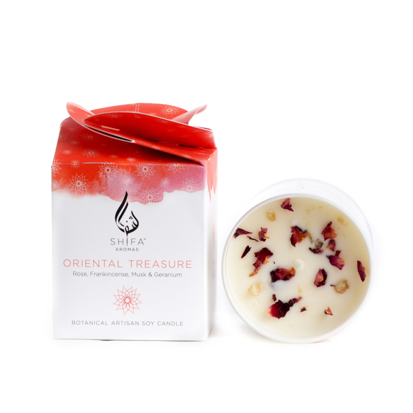 Oriental Treasure. Rose, Frankincense, Musk & Geranium - Glass Jar Candle