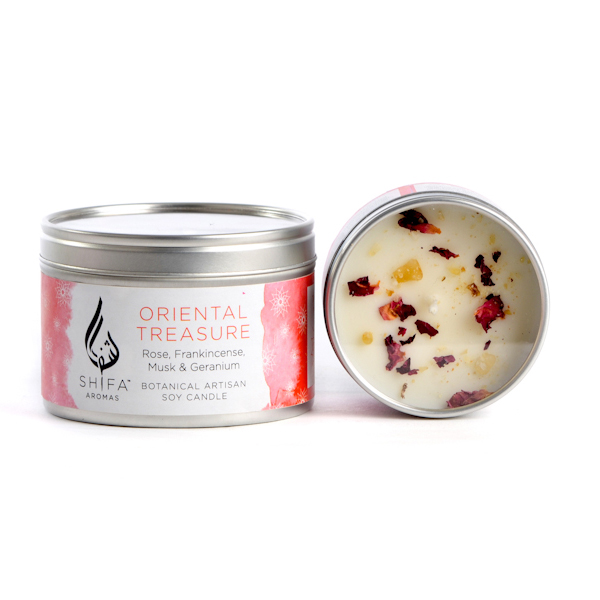 Oriental Treasure. Rose, Frankincense, Musk & Geranium - Large Candle Tin