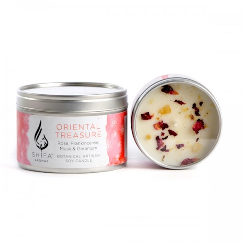 Oriental Treasure. Rose, Frankincense, Musk & Geranium - Small Candle Tin