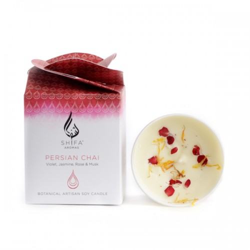 Persian Chai. Violet, Jasmine, Rose & Musk - Glass Jar Candle