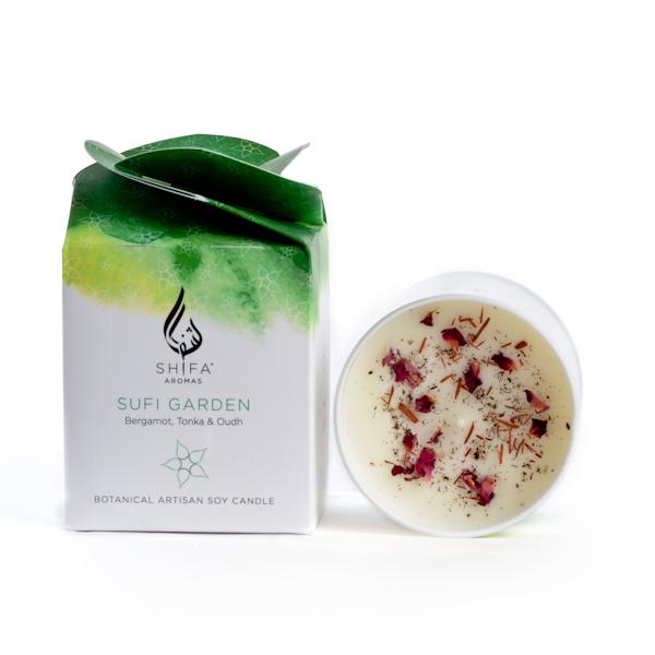 Sufi Garden. Time To Love Bergamot, Tonka & Oudh - Glass Jar Candle
