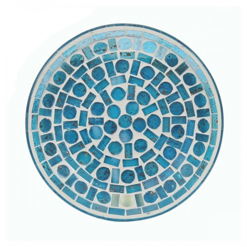Candle Plate, Blue Criss Cross