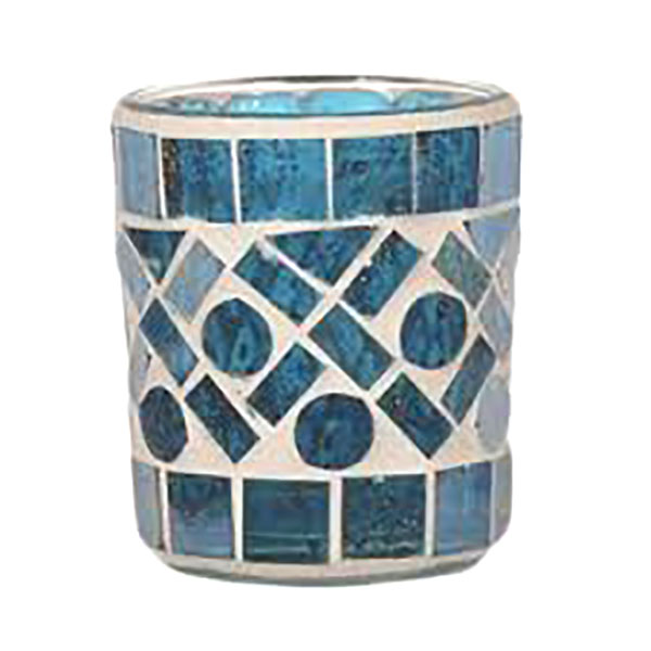 Tea Light Votive Holder, Blue Criss Cross