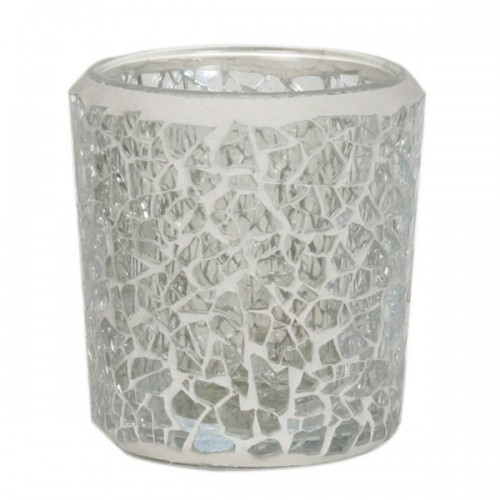 Tea Light Votive Holder, Crackle Mosaic Clear