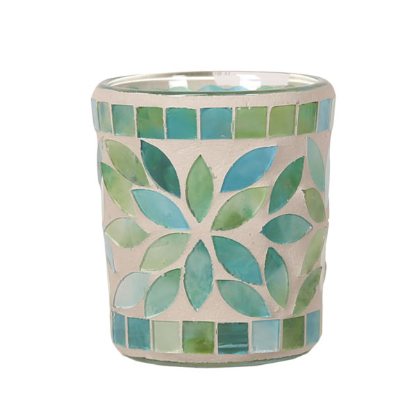 Tea Light Votive Holder, Mint Green Petal